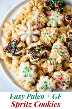 These gluten free and paleo spritz cookies are buttery sweet, easy to make and tons of fun to decorate for the holidays!  A fun healthy baking treat your whole family will love. #grainfree #paleo #glutenfree #cleaneating #healthybaking #christmascookies