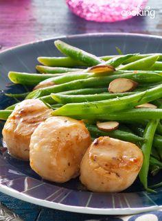 Pan-Seared Scallops and Green Beans Amandine #recipe