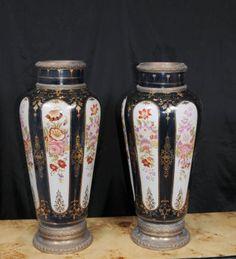 Pair Paris Sevres Floral Porcelain Rose Vases Urns