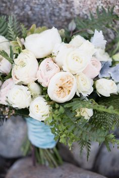 Arrangements Floral + Party Design — Rancho Mirage, Lauren + Chris |  Bridal Bouquet white, cream with greens. Garden Roses, ranunculus, dusty miller. Rancho Mirage, Dusty Miller, Garden Roses, Ranunculus, Floral Arrangements, Floral Wreath, Bouquet, Bridal, Cream