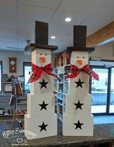 "Extra-Large Wood Snowman 29"" - Rustic Wooden snowmen by Netties Expressions"