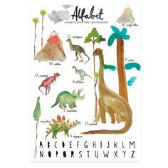 Dino Park, Berlin, Alphabet, Baby Room, Kids Room, Poster, Ink, Store, Dinosaurs