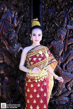 Thai traditional dress In red