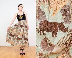 Vintage 90s Safari Skirt   Novelty Animal Print Boho Skirt   Elastic Waist Cotton Skirt   Full Maxi Skirt   Green Brown   Medium M by SHOPPOMPOMVINTAGE on Etsy