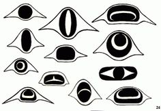 Eye designs used in West Coast Native Art.                                                                                                                                                      More