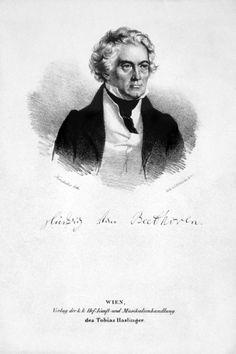 Ludwig van Beethoven (1770-1827), lithograph (1828), by Josef Kriehuber (1800-1876),