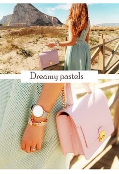 The sheer beauty of blue skies, the tenderness of delicate breezes; all complete our dreamy look gracefully outlined by the flowing silky dress in pastels and sparkling accessories. Next to these refined leather bags you will better enjoy new, adventurous roads that will take you, well, who knows where!