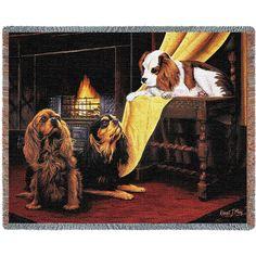Cavalier King Charles Spaniel Dogs Art Tapestry Throw