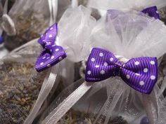 Set of 6 Lavender Sachets made with Toffee Organza Bags