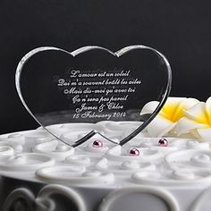 Personalized Double Heart Wedding Cake Topper – GBP £ 18.97