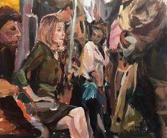 Original Painting collected Artist Samuel Burton BA Lady on the london tube