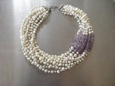 freshwater pearl faceted amethyst 10strand 20inch | HRH Duchess of State | Flickr Pearl Jewelry, Wedding Jewelry, Beaded Jewelry, Jewelery, Jewelry Necklaces, Bracelets, Gemstone Necklace, Beaded Necklace, Wedding Jewellery Inspiration