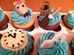 Cupcakes Take The Cake: Cinderella cupcakes complete with mouse, broom and dress! Gourmet Cupcakes, Cute Cupcakes, Themed Cupcakes, Baking Cupcakes, Cupcake Cakes, Disney Princess Cupcakes, Cinderella Cupcakes, Cinderella Theme, Princess Party