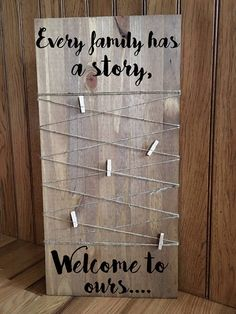Etsy Rustic Every family has a story, welcome to ours, wooden photo board - a great way to display family pictures #ad