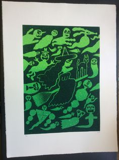 https://flic.kr/p/eekgJ5 | Witch & Spooky Ghosts Screen Print | Witch & Spooky Ghost print - £65   Two colour screen print with a colour blend & an embossed stamp in corner   Image size approximately A2 on 300gsm Somerset Satin Printmaking paper (56 x 76cm)   Edition of 50   Available at Pick me up in London or through me personally. Email - Liam.Barrett@ live.com