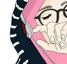 Dengarkan dan masukkan dalam hati Muslim Pictures, Islamic Pictures, Anime Muslim, Muslim Hijab, Hijab Drawing, Cute Muslim Couples, Islamic Cartoon, Hijab Cartoon, Cute Girl Drawing