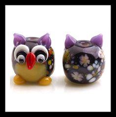 18 MM Purple Owl Lampwork Glass Beads  Handmade by Girljewelrybox