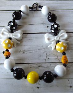 Bumblebee chunky little girl necklace yellow, black and white. Handmade lampwork beads
