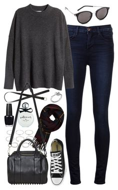 """Outfit for college"" by ferned ❤ liked on Polyvore featuring J Brand, H&M, Forever 21, Kate Spade, OPI, Abercrombie & Fitch, Alexander Wang, Converse, Michael Kors and Yves Saint Laurent"