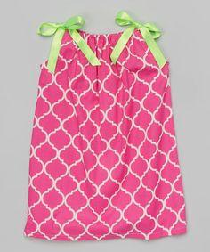 Look at this #zulilyfind! Pink Lattice Tie-Strap Dress - Toddler & Girls #zulilyfinds