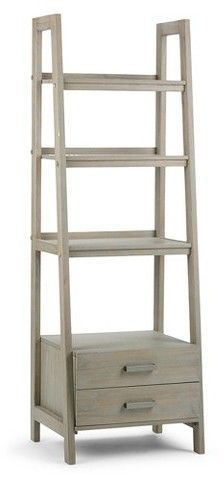 Simpli Home Sawhorse 4 Shelf Ladder Shelf with Storage - Distressed Grey