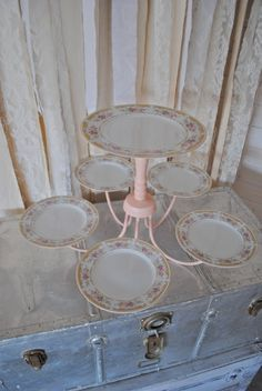 DIY: Chandelier Dessert Display my mother made one of these for a event and we had cupcakes served on it super cute