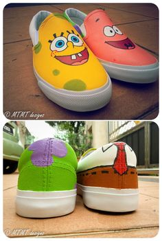 Spongebob and Patrick came together again! ) is part of Custom vans shoes - White Canvas Shoes, Painted Canvas Shoes, Custom Painted Shoes, Painted Sneakers, Hand Painted Shoes, Disney Painted Shoes, Painted Vans, Cute Vans, Cute Shoes
