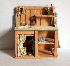 Miniature Shabby Kitchen Sink (1 inch dollhouse scale)