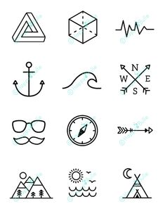 Simbolos Tattoo 89537 Illustrations with an exclusive Happybulle design Easy Doodles Drawings, Mini Drawings, Cute Easy Drawings, Simple Doodles, Pencil Art Drawings, Art Sketches, Hipster Drawings, Simbolos Tattoo, Hand Art
