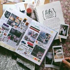 cuadernos de viaje con muchos fotos, doodling, estampadas, diario, exploradores