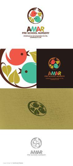 love this color palette and brand identity design | illustration | Logo design for Amar pre-school nursery