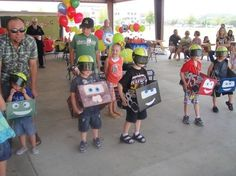 Disney Cars theme birthday party Race Time! Cardboard racing costume play backyard doc mater lightning McQueen Sally