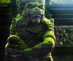 moss covered (hanuman?) statue, bali, indonesia