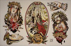 Tattoo Flash and Paintings Traditional Tattoo Jesus, Traditional Tattoo Sleeve Filler, Traditional Tattoo Painting, Traditional Tattoo Design, Traditional Tattoo Flash, Flash Art Tattoos, Dragon Tattoo Back Piece, Dragon Sleeve Tattoos, Rock Of Ages Tattoo
