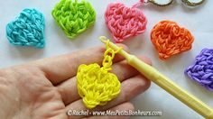DIY Rainbow Loom heart charms by Rachel - Mes Petits Bonheurs / Photo and video tutorial (in french)