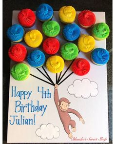 Curious George float Curious George floating off to a classroom Birthday party! First Birthday Cupcakes, Monkey Birthday Parties, Happy 4th Birthday, Boy First Birthday, Birthday Crafts, Birthday Party Themes, Themed Parties, Happy Birthday Julian, Birthday Kids