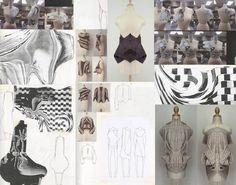 Fashion Sketchbook - fashion design development with knitted & draped samples + sketches; fashion portfolio // April Feng