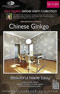 Chinese Ginkgo Stencil by Kim Myles  Se more Stencil Patterns by Kim Myles: http://www.cuttingedgestencils.com/kim-myles.html  #KimMyles #stencils