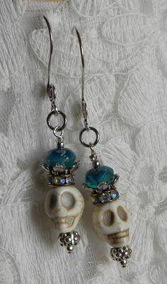 Day of the Dead Handmade Beaded Earrings by bdzzledbeadedjewelry