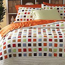 organic cotton shaker square patchwork quilt and shams