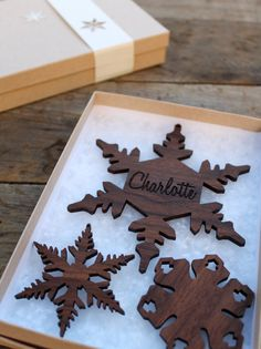 Wooden snowflake ornaments!