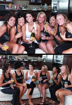 Drinking mimosas in custom bride and bridesmaid tank tops!