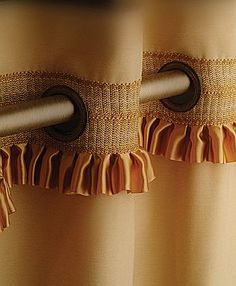 Brimar Drapery Hardware - grommet drapery panels. Luv this detail pretty trim on a basic panel.