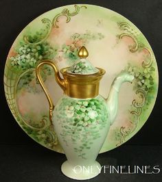 Gorgeous Limoges Pair - GDA - Limoges FRANCE - Demi-tasse - Tea Coffee Coco - Pot - T 8 Plate - Hand Painted - Green Clover - Coin Gold Accents - Vintage FRENCH Duo. Signed with a Gerard, Dufraisseix and Abbot Limoges hallmark used between 1900 and Antique Dishes, Antique China, Vintage China, Vintage Tea, Clover Green, Teapots And Cups, China Painting, Chocolate Pots, Delft