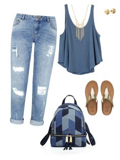 """Feeling the blues"" by jacquelyn-riehl on Polyvore featuring RVCA, Gemelli, MICHAEL Michael Kors, Miss Selfridge, FitFlop and Eddie Borgo"