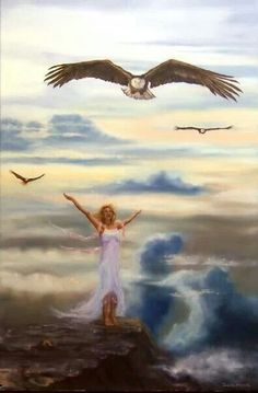 On Eagles Wings Painting by Jeanette Sthamann. Lady worshiping the Lord, prophetic art. Christian Facebook Cover, Eagle Wings, Bride Of Christ, Prophetic Art, Lion Of Judah, Daughter Of God, Warrior Princess, Praise And Worship, Christian Art