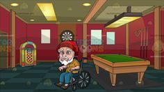 A Weak Old Man In A Wheelchair At A Game Room With Pool Table And Juke Box:  An old man with white hair mustache and beard wearing a red beanie mustard yellow polo shirt with buttons teal pants and dark brown shoes frowns while sitting on a wheelchair . Set in a room with red walls checkered blue green flooring with paneled ceiling and lights a pool table billiard sticks hanging on the wall dart board and a jukebox placed in a corner.