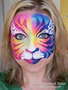 Fantasy Tiger von Making Faces Tutus www. Face Painting Images, Animal Face Paintings, Girl Face Painting, Face Painting Tutorials, Belly Painting, Face Painting Designs, Animal Faces, Tiger Face Paints, Face Paint Makeup
