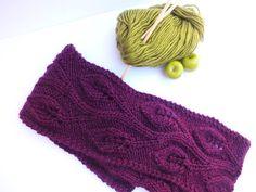 Hand knit lace scarf  lace pattern burgundy by SuninVIRGOCreations