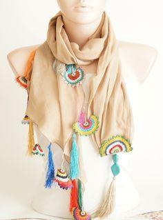 Beige, Camel Cotton with Hand Made Turkish OYA Spri lovely crochet detail! #crochetscarf